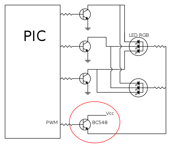 pwm transistor connection