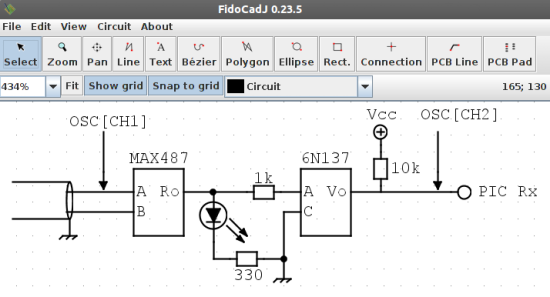Fig. 4: A circuit drawn with FidoCadJ