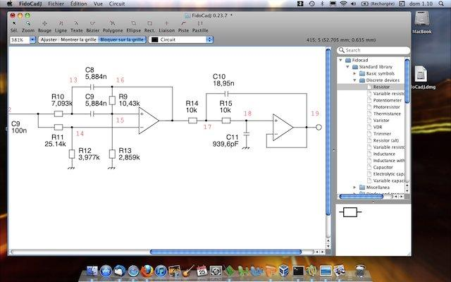 Fig. 3: an electrical schematics drawn with FidoCadJ (MacOSX 10.6.8 Snow Leopard)